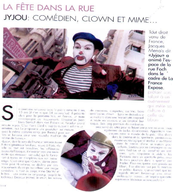 article presse Jyjou comdien mime clown